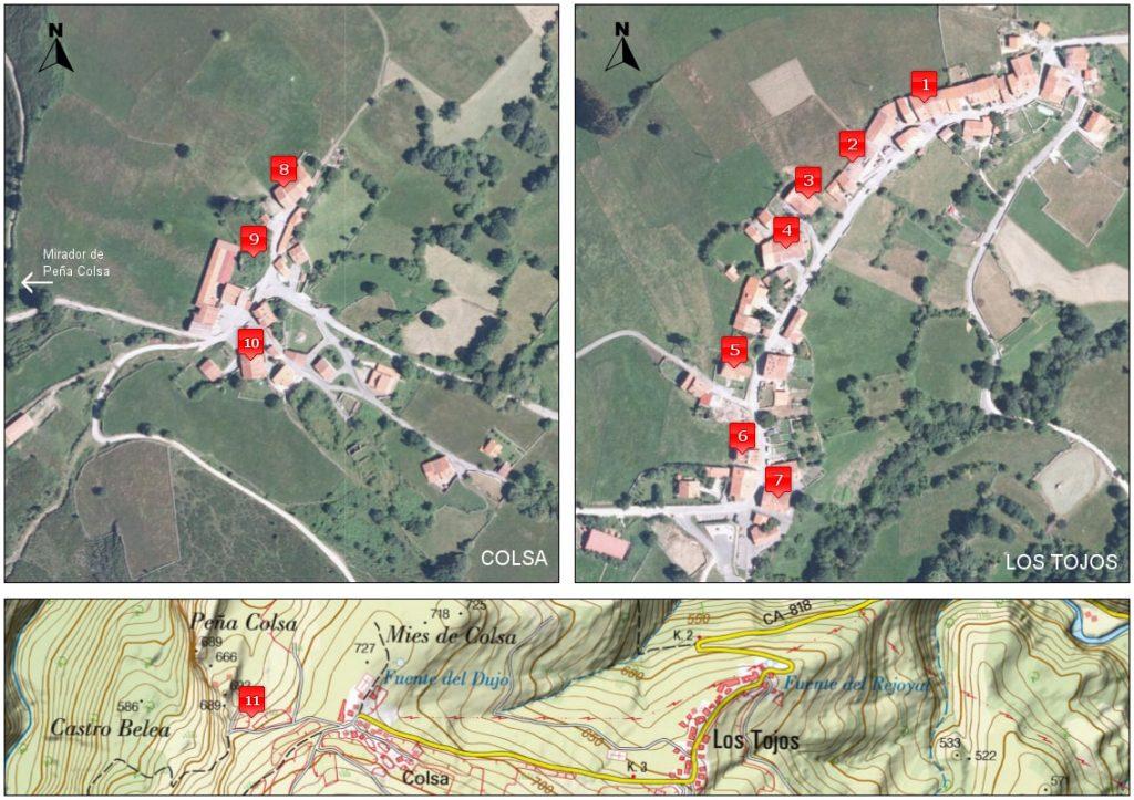 Mapa visita autoguiada Los Tojos - Colsa<br />Ortofoto PNOA (IGN)